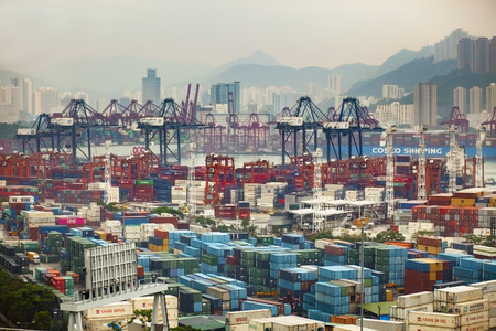 hong kong - march15,2019 : large number of container box in shipping port of hong kong ,hong kong is one of most important vessel logistic in east asia