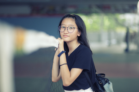 portrait of asian teenager happiness smiling face Banco de Imagens - 121579341
