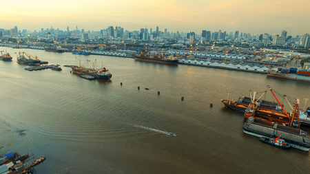 aerial view of shipping port in chaopraya river bangkok thailand