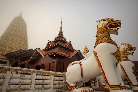 thai-myanmar cultural temple in kanchanaburi weatern territory of thailand Banco de Imagens