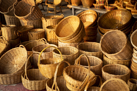 Bamboo basket hand craft in Thailand