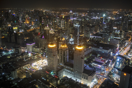 bangkok thailand - august21,22018 : high angle view of urban skyline in heart of bangkok  view from baiyoke tower formerly highest building in thailand