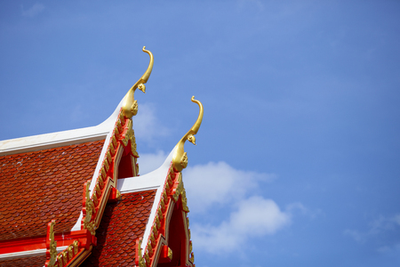 beautiful temple roof art of buddhism church in  thailand