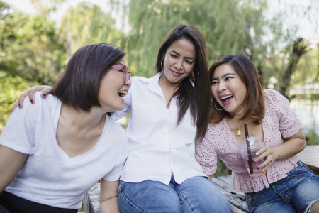 three asian woman laughing with happiness emotion Imagens - 123580937