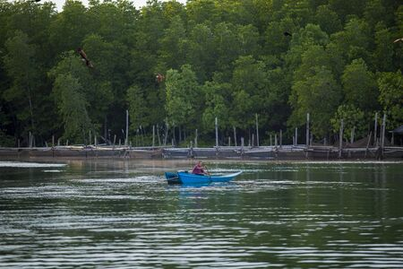trad thailand - november27,2017 : unidentified man sailing long tail boat in fresh water canal against green mangrove forest in trad province eastern of thailand Stock fotó