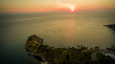high angle view of beautiful sunset at laem phomthep phuket southern of thailand