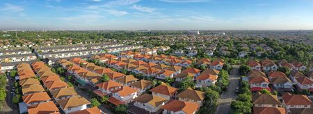 high angle view of home village in bangkok thailand Standard-Bild - 127106269