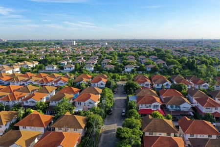 aerial view of beautiful home village and town settlement Imagens