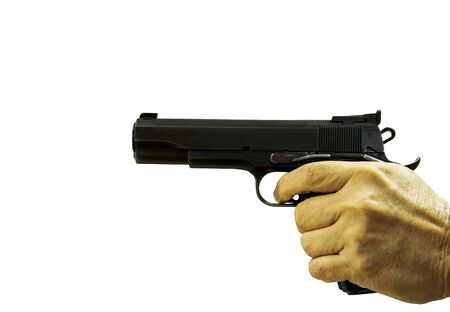 hand pointing automatic short gun isolated white background