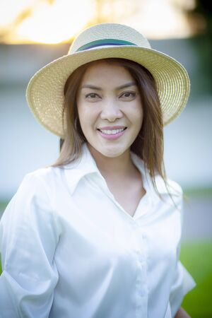 portrait of beautiful younger asian woman toothy smiling face Stock fotó