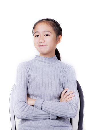toothy smiling face asian teenager isolated white background Stock fotó