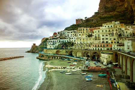 atrani town, italy - november 5, 2016 : beautiful scenic of atrani town , atrani is passing route to amalfi town one of most popular traveling destination in southern italy