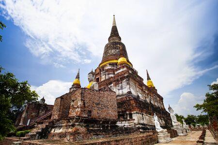 wat yai chai mongkol temple in ayutthaya Фото со стока