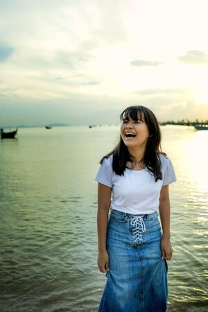 asian teenager laughing with happiness emotion Stock fotó