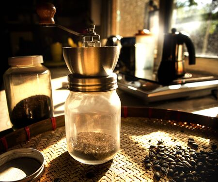 coffee grinder and roasted of coffee bean