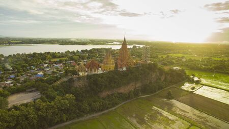 aerial view of wat tumseau temple one of most popular traveling destination in kanchanaburi thailand