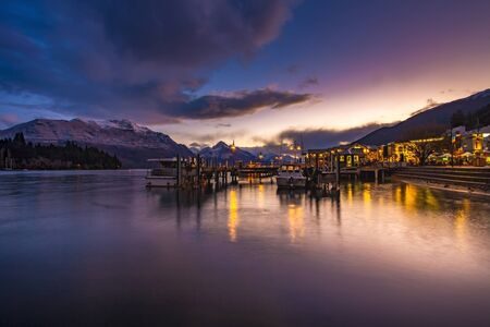 beautiful sunset sky of port of lake wakatipu south land new zealand
