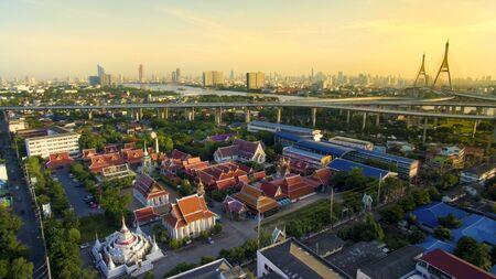 aerial view of temple and bhumibol bridge in bangkok thailand Stock Photo