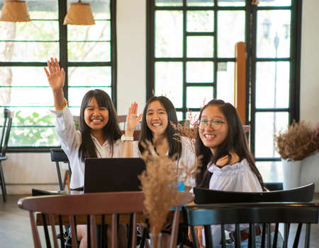group of asian teenager sitting in snack cafe Stock fotó