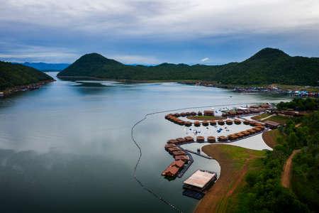 aerial view of srinakarin dam lake in kanchanaburi western of thailand