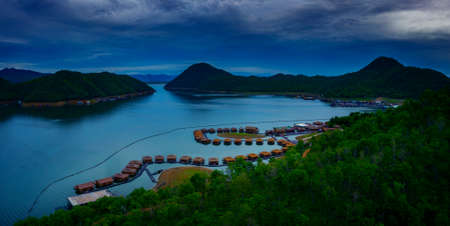 high angle view of srinakarin dam inn kanchanaburi western of thailand