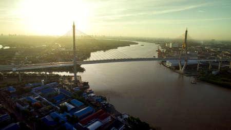 high angle view of bhumibol bridge one of most important landmark in bangkok thailand Stock fotó