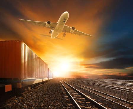 logistic trains and cargo plane flying against beautiful sky background Zdjęcie Seryjne