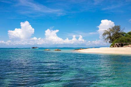 beautiful blue sea and tropical sand beach in thailand