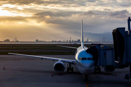 passenger plane preparing for departure from osaka airport japan