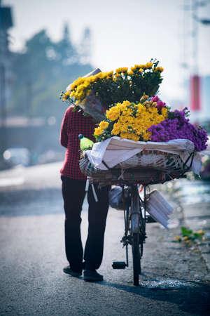 street flower seller in hanoi northern of vietnam Stock fotó