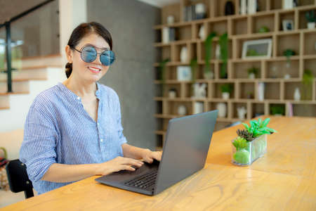 woman concentrate working on laptop computer