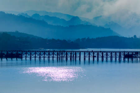 beatiful wood bridge landmark of sangklaburi most popular traveling destination in kanchanaburi thailand