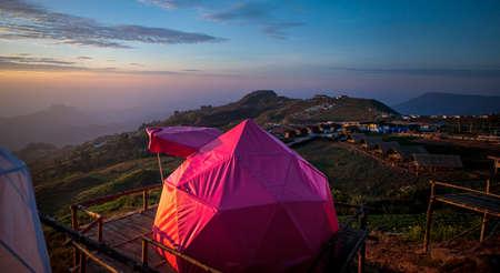 beautiful tent on mountain top destination thailand
