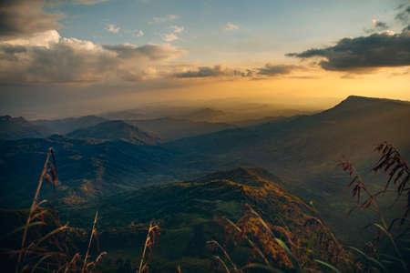 beautiful mountain range against sunset sky in thailand 版權商用圖片