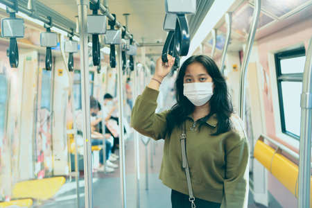 asian woman wearing protection mask standing in  city sky trains