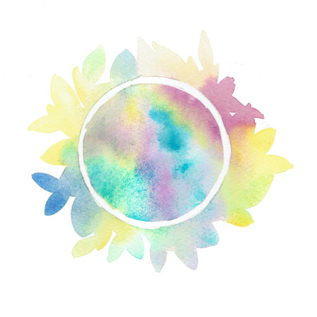 Colorful Watercolor wet brush texture. Isolated illustration for your greeting card, valentine card abstract design, label.