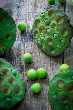 Lotus seeds and calyx on wooden background Stock Photo
