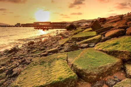 distantly: sunset and moss on the rock Stock Photo