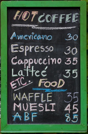 coffee and beverage menu on blackboard photo