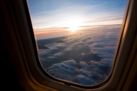 window light: sunset view at air plane window