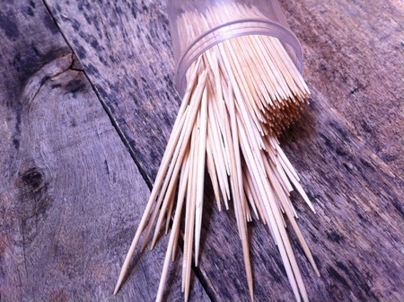 toothpick: Toothpick on the wooden