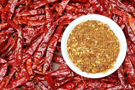 chilly: red chillies with red chilly powder Stock Photo