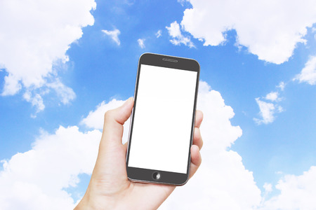 cloude: Man hand holding smart phone with isolated white screen,blue sky background