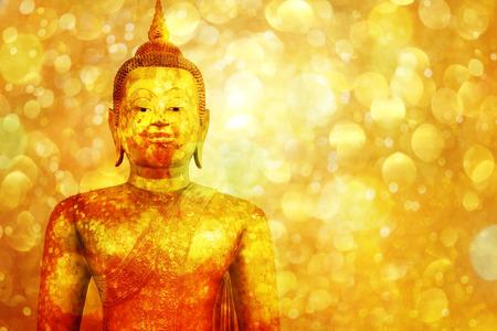 buddha statue: Buddha statue on golden background,
