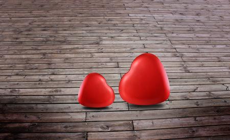 Symbole de coeurs rouges de l'amour sur le fond en bois pour la Saint-Valentin