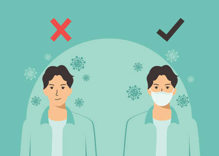 Covid-19 virus strain, a team of doctors warns of the dangers of getting the flu virus. man wearing a mask