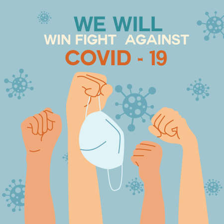 """The masked raised his fist with confidence. The back has a message """"We will win fight against COVID-19"""" Vector Illustration"""