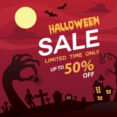 Halloween Sale banner or poster design with 50 discount offer and vampire man on red firing background. Ilustracja