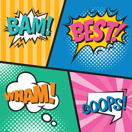 Comic book page with speech bubbles. Colorful pop art vector background design template.