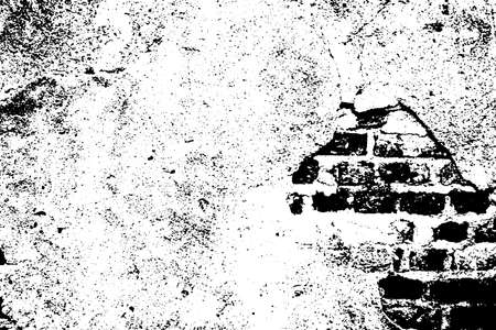 Vector monochrome grunge background. Illustration of brick wall texture.